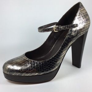 Cole Haan Leather Mary Jane Snake Platform Heels